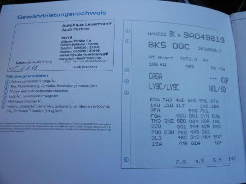 AUDI A4 AVANT (8K5, B8) 2.0 TDI