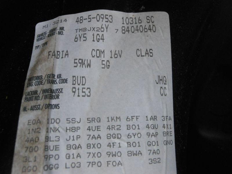SKODA FABIA COMBI (6Y5) 1.4 16V